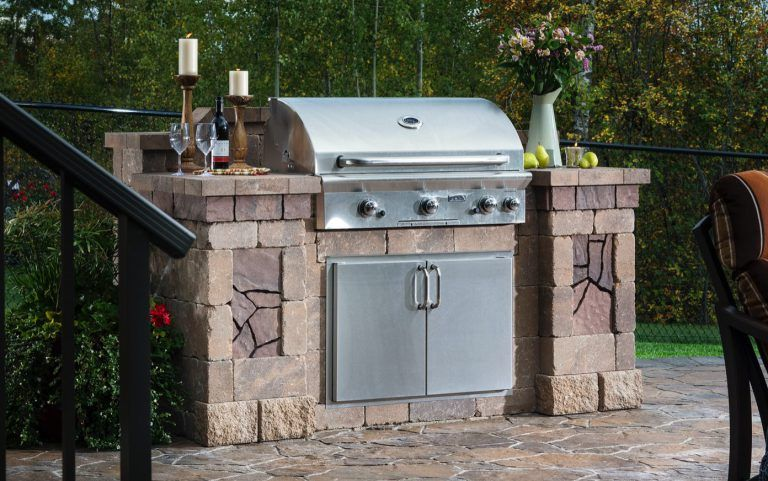 This Grill Island From The Bristol Series Of The Belgard Elements Collection Includes A Bar Top For S Built In Outdoor Grill Outdoor Grill Island Outdoor Grill
