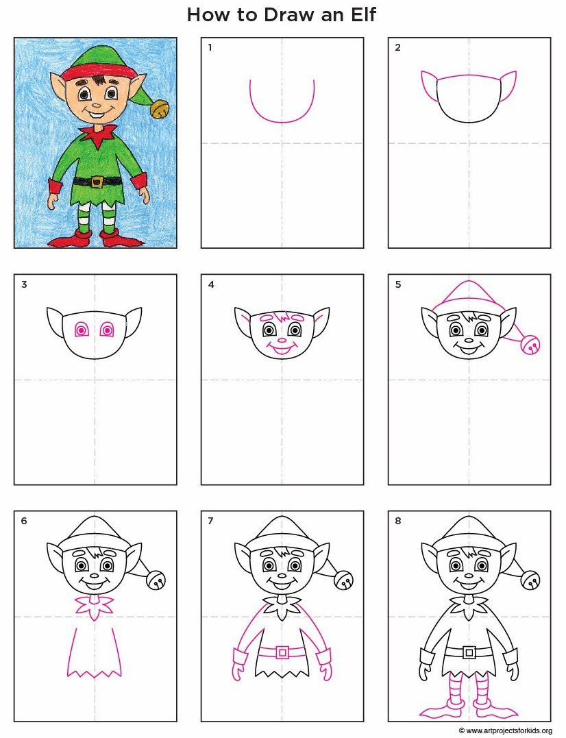 Step by Step Elf Drawing Christmas art projects, Elf art