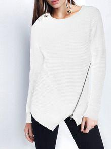 White Crew Neck Zipper Asymmetric T-Shirt