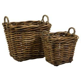 Capuchin Square Oversized Rattan Baskets   Set Of 2   The Oversized Set Of  Two Square Capuchin Baskets Are Woven From Rattan And Are A Beautiful Way  To Stay ...