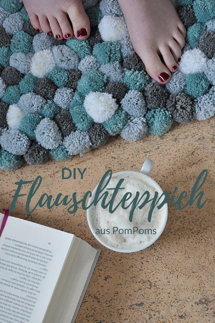 diy flauschteppich aus pompoms einfach selber machen wohnen diy pinterest. Black Bedroom Furniture Sets. Home Design Ideas