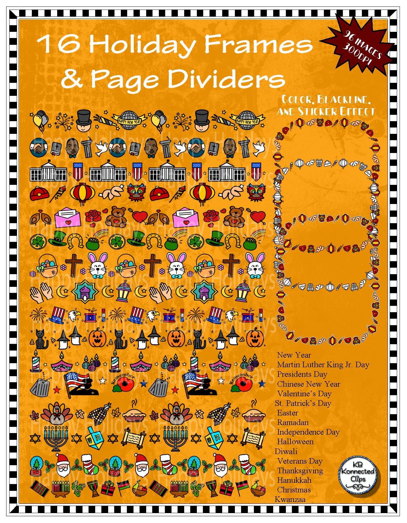 holiday frames u page dividers january thru december color