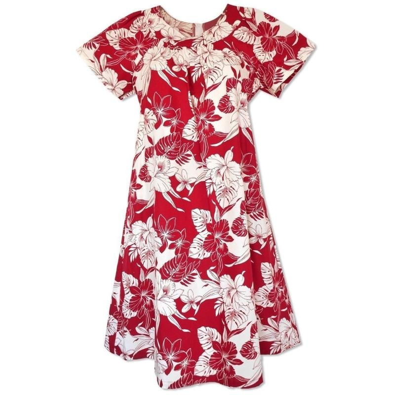 547fe4bc889 Lava Red Hawaiian Meaaloha Muumuu Dress with Sleeves in 2019 ...