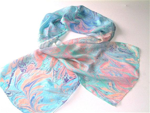 Hand Marbled One Of A Kind Womans Scarf 100 Silk Hand Painted Lightweight Long Scarf Multi Coloured Rolled Hem Gentle Shampoo Long Scarf