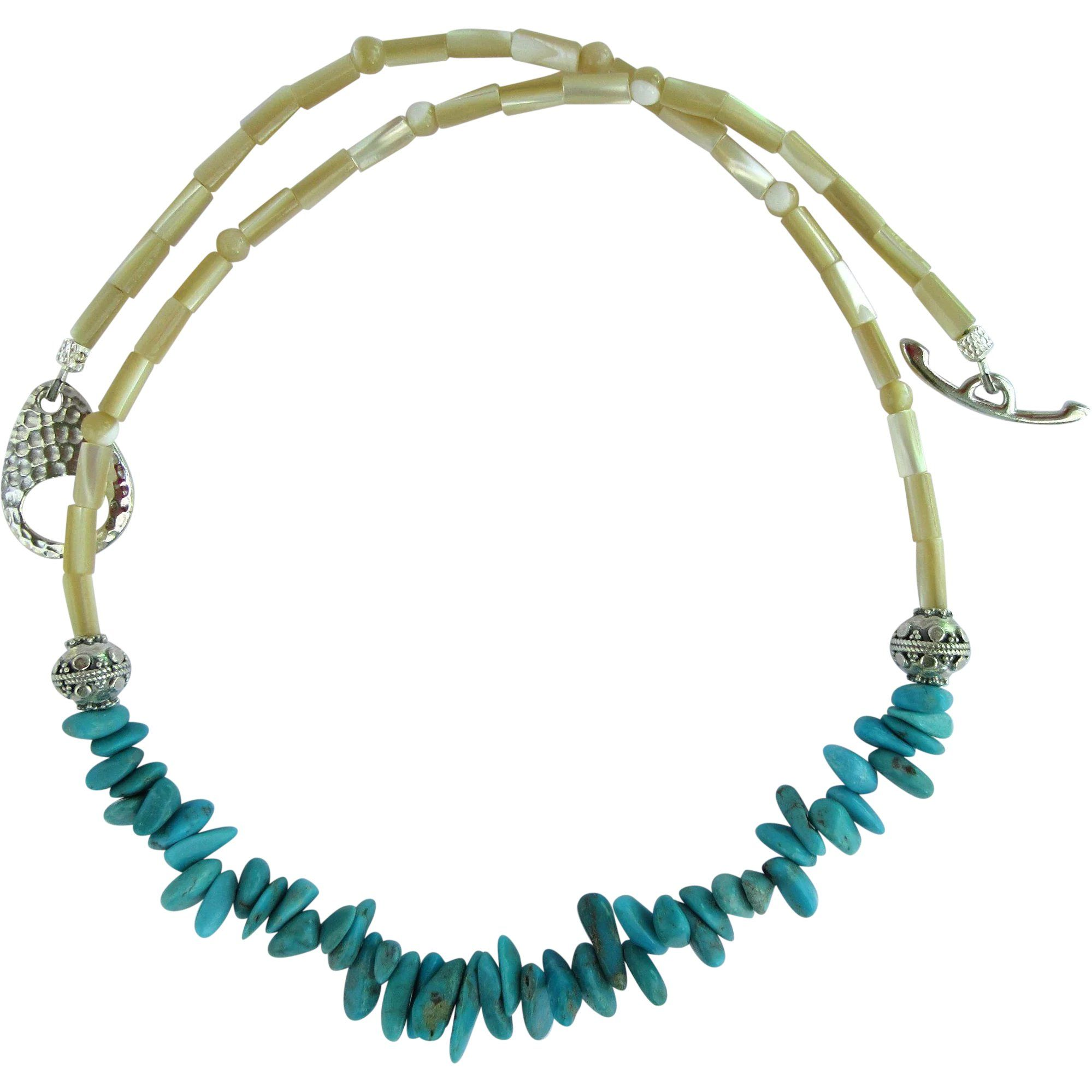 December  Turquoise Petal Bead Necklace With Sterling Silver And