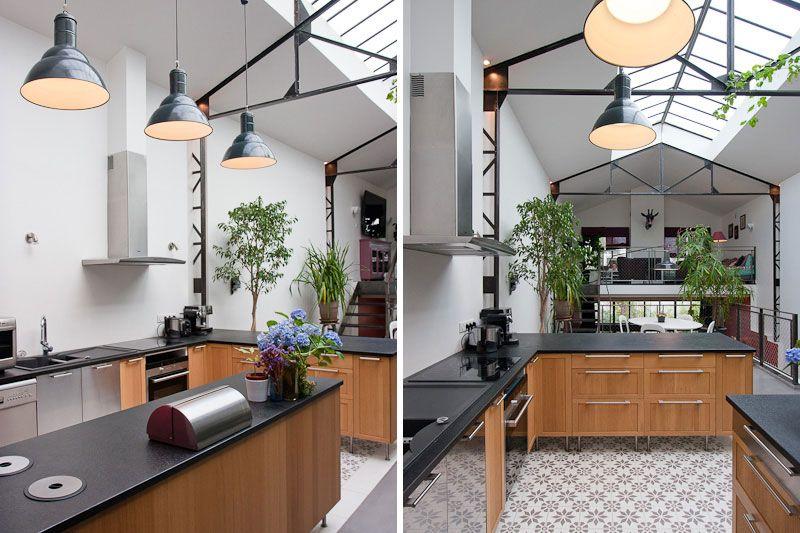 Maison loft cuisine cuisine pinterest cecile for Cuisine industrielle loft