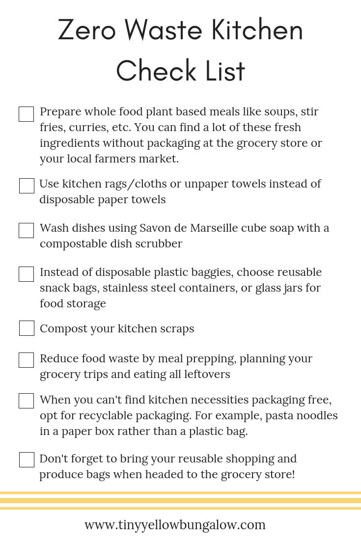 Zero Waste Kitchen Check List