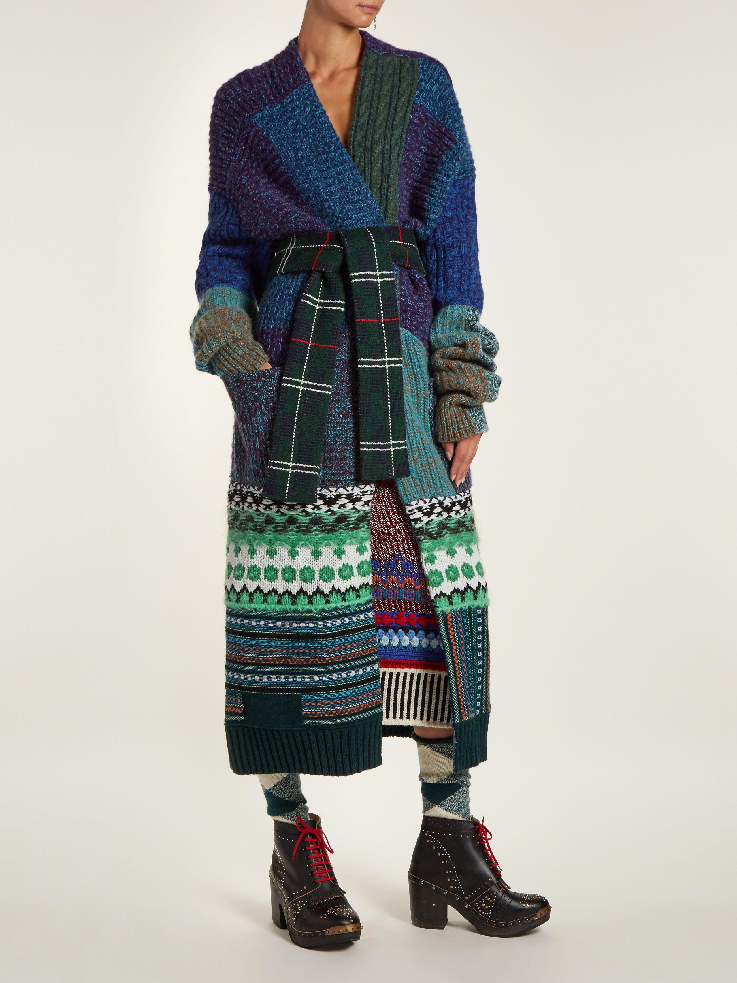 0fdcdd4069b9 Tie-waist patchwork-knit cardigan | Burberry | MATCHESFASHION.COM UK ...