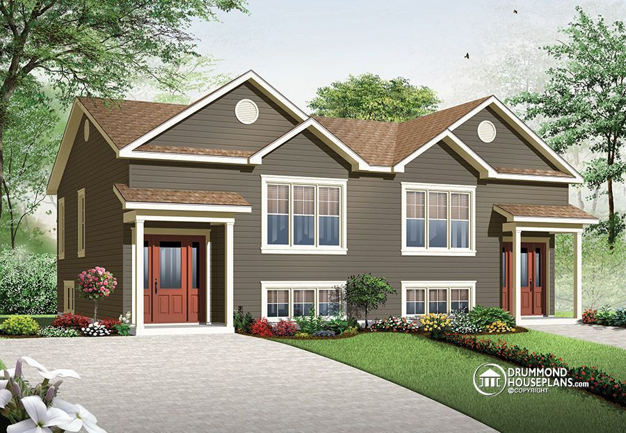 Multi family plan w3062 detail from for Two family home plans