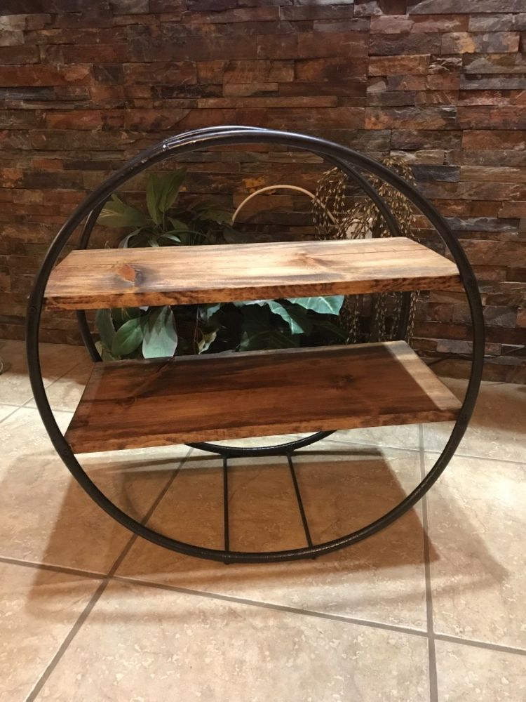18c097230d4a9 I created a beautiful shelving unit with two hula hoops I bought at the  dollar store. I am in love with the trendy circled shelves but not about  the price ...