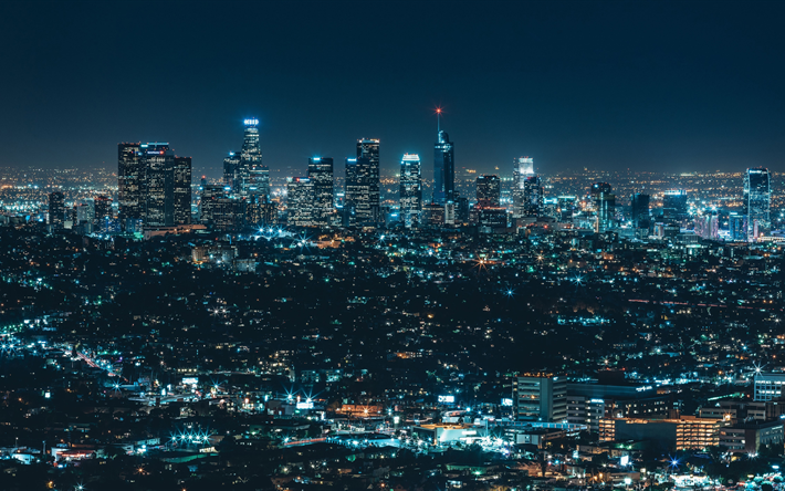 Download Wallpapers 4k Los Angeles Nightscapes Night Lights Buildings America Usa Besthqwallpapers Com Night Architecture City View Night Skyline