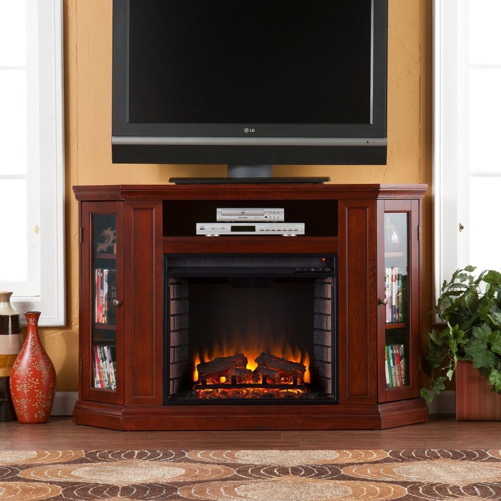 Wide wood convertible media electric fireplace