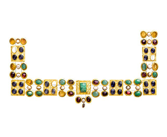 Necklace, A.D. 300s, Marion, Cyprus, Greece; gold, sapphire, emerald, garnet, and pearl.