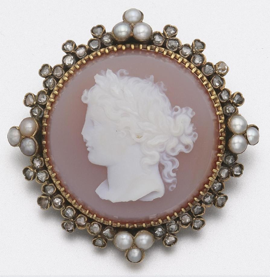 GOLD, DIAMOND, PEARL AND CARNELIAN CAMEO BROOCH, CIRCA 1880