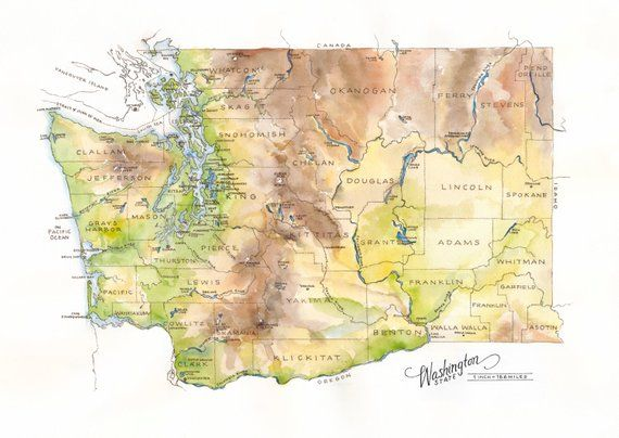 Washington State Map Watercolor Illustration State of ...