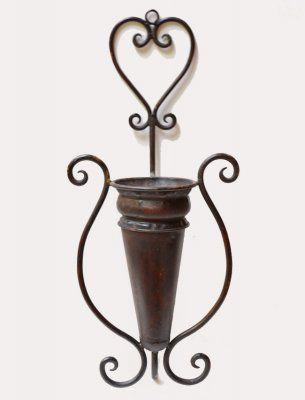 Metal Wall Vase large metal wall vase or scone perfect for silk flowers or