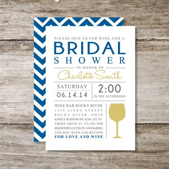Chevron And Wine Bridal Shower Invitation Set Of 25 By Sassyrae