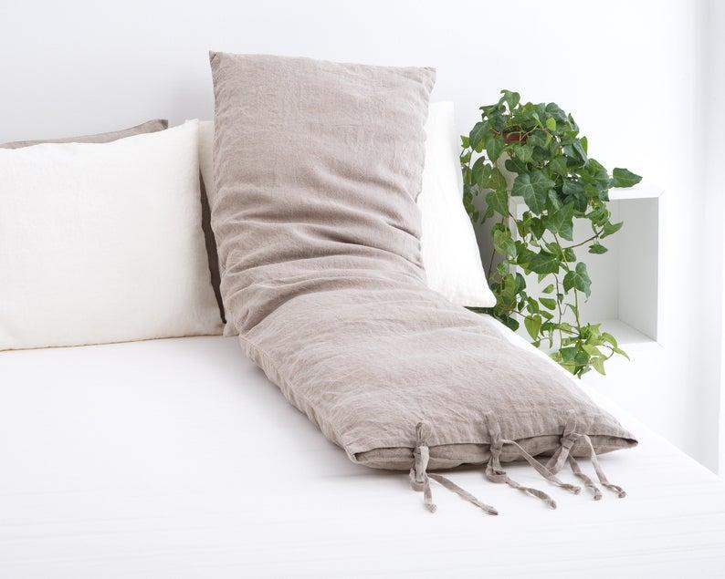 Linen Body Pillow Case Body Pillow Body Pillow With Ties Linen Pillow Case Body Pillow Cover In 2020 Pure Linen Bedding Linen Pillow Cases Body Pillow