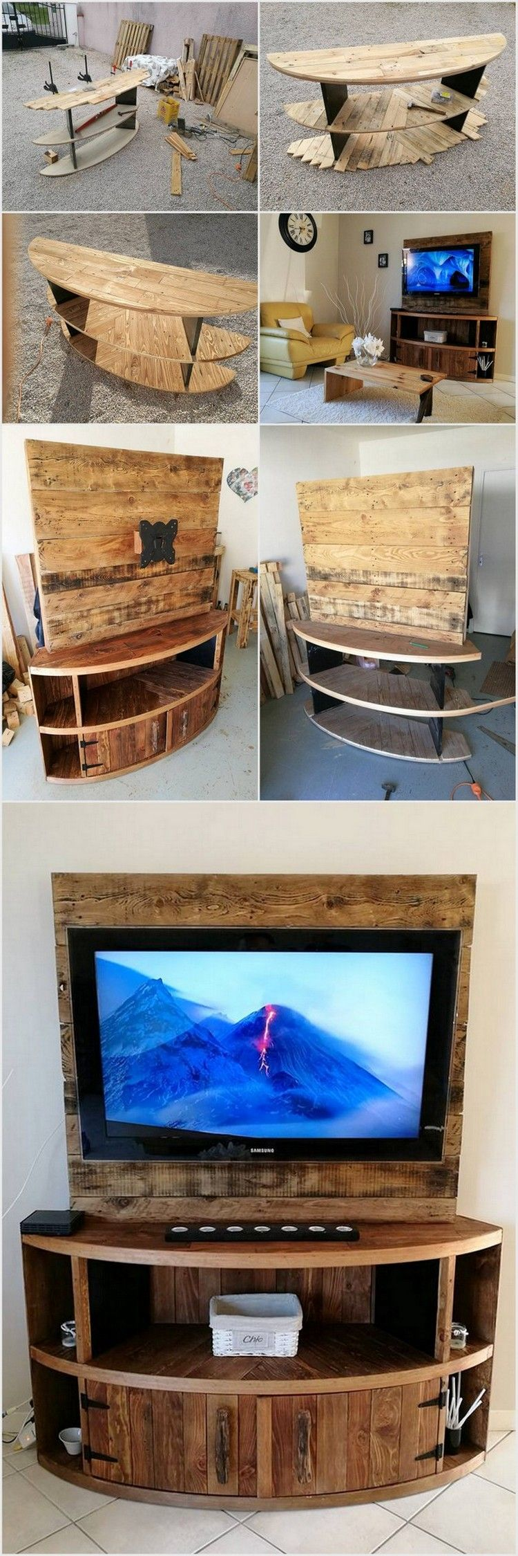 diy wood pallet entertainment center tv stand palety pinterest m bel selbstgemachte. Black Bedroom Furniture Sets. Home Design Ideas
