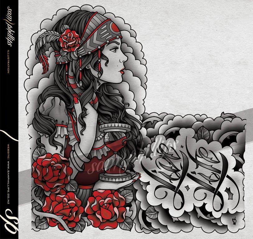 Sams Blog: Gypsy Hourglass Tattoo Half Sleeve | tattoo ...