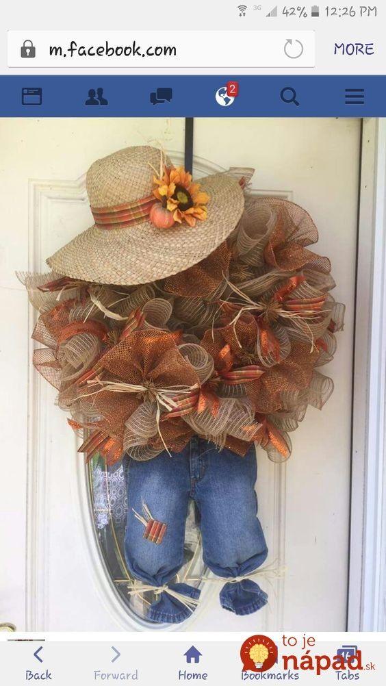 Krásne jesenné dekorácie z črepníkov, pohárov na zaváranie a starých klobúkov: Nestojí to ani cent a uchvátia každého! #scarecrowwreath