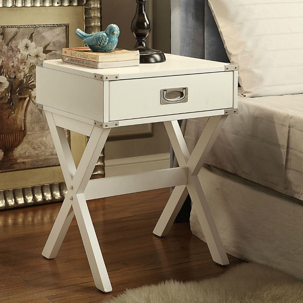 Campaign End Table Accent Side Nightstand 1 Drawer White Suitcase Style  Furnitur #Acme #ContemporaryModern