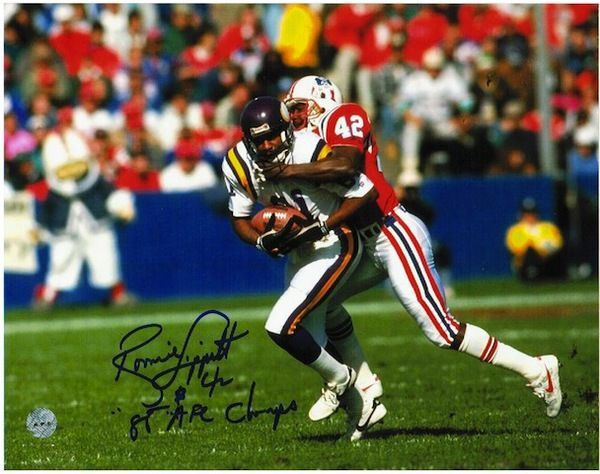 """Autographed Ronnie Lippett New England Patriots 8x10 Photo Inscribed """"""""86 AFC Champs"""""""""""
