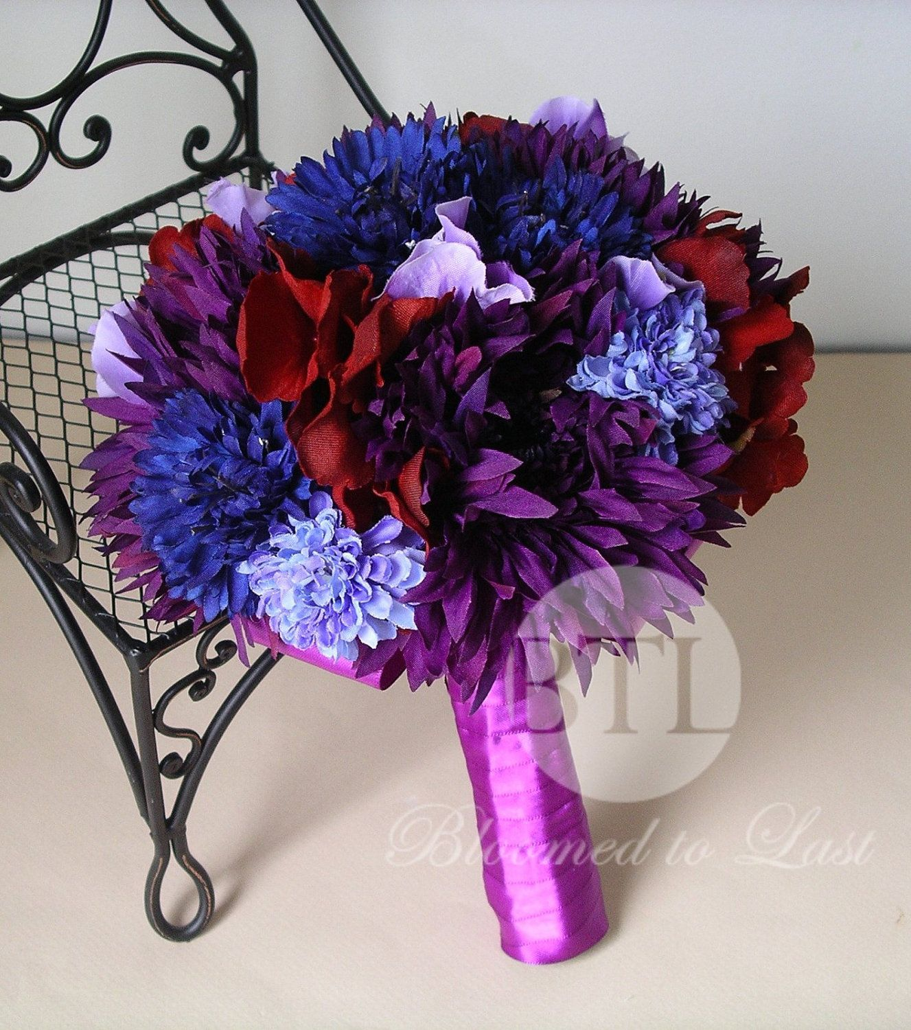 Purple, Blue And Dark Red Jewel Tone Hand Tied Wedding