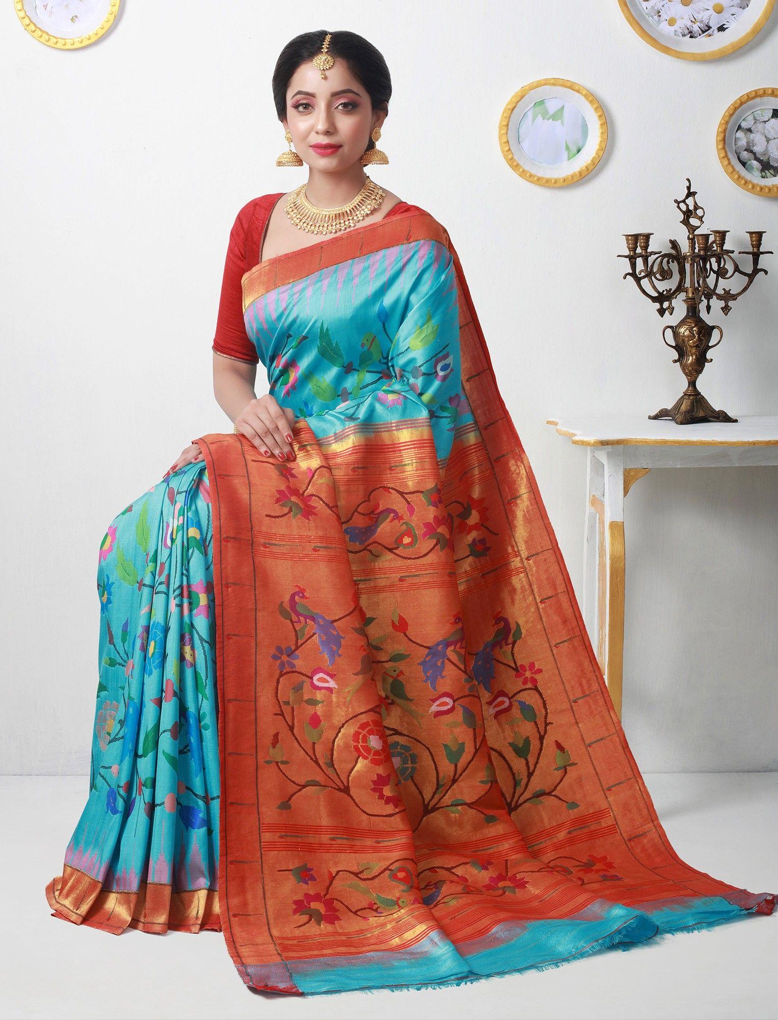 Yeola paithani saree images umabai brilliance under the sky gold zari double turning paithani