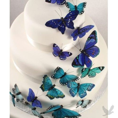 Decorative Butterflies on Wedding Cake