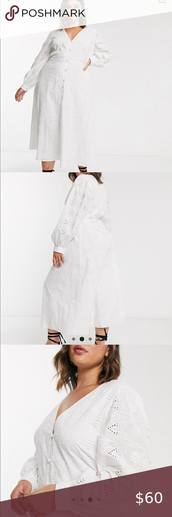 ASOS DESIGN Curve – Broderie – Robe mi-longue boutonnée avec bouton PRICE FIRM – Neuf avec étiquettes. 🍀 …   – My Posh Picks