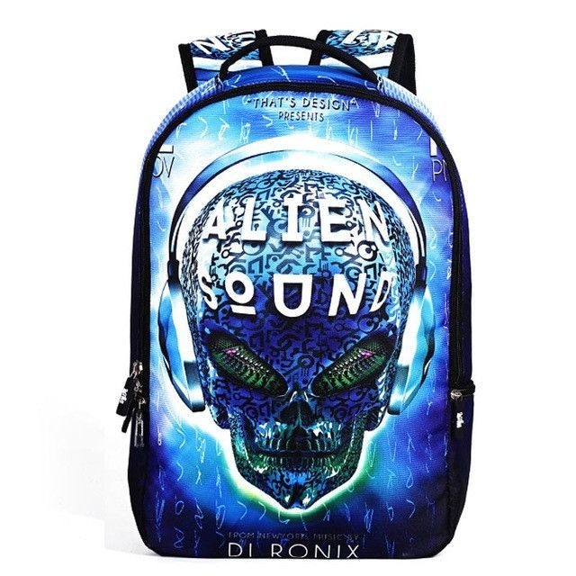 6aa29e35800d 2017 New Fashion Men s Backpack Cool Printing Backpacks Skull Heads Senior High  School Bags For Teenage Boys Laptop Mochilas