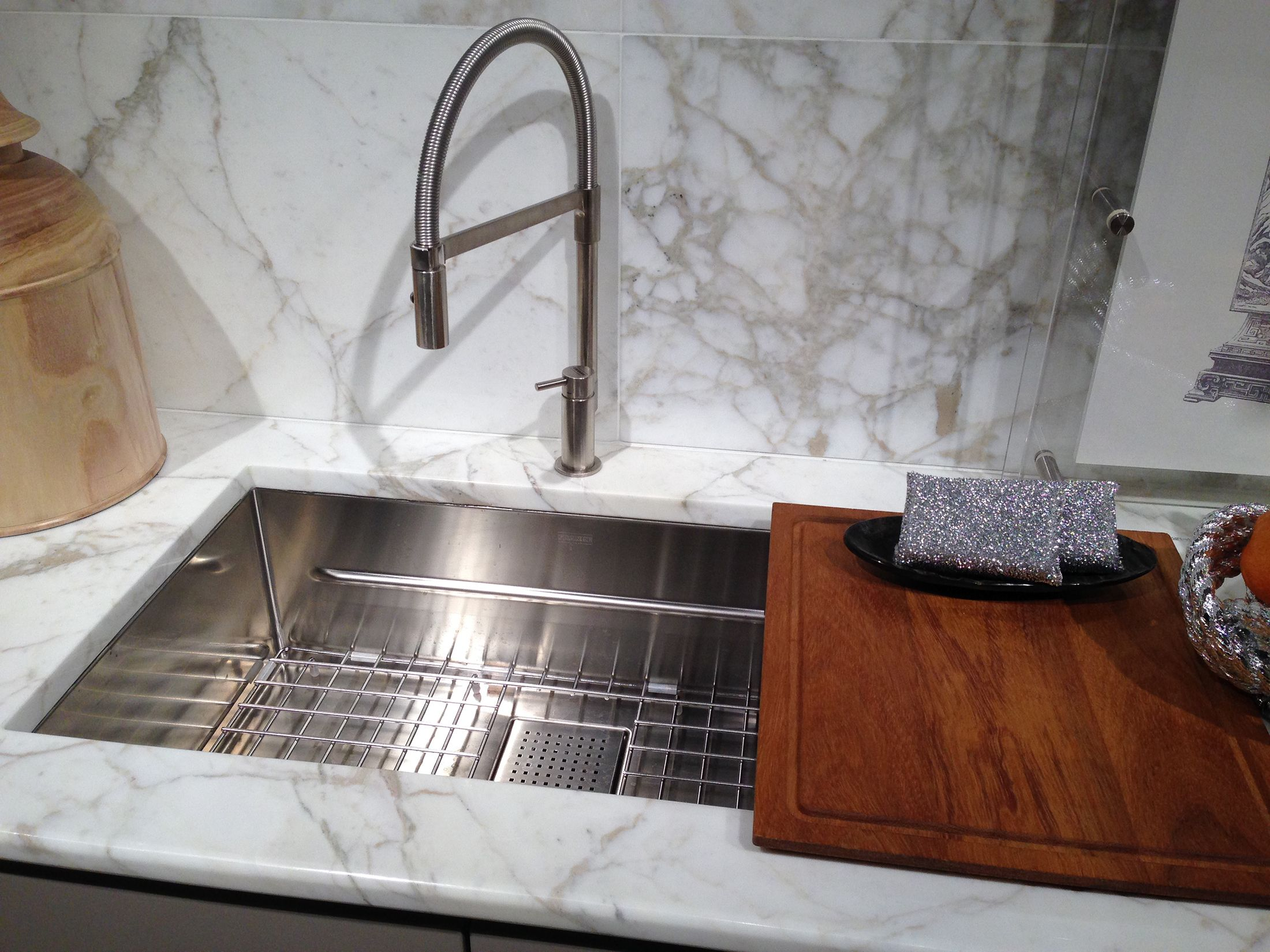 kitchen sink integrated cutting board ideas with white granite top