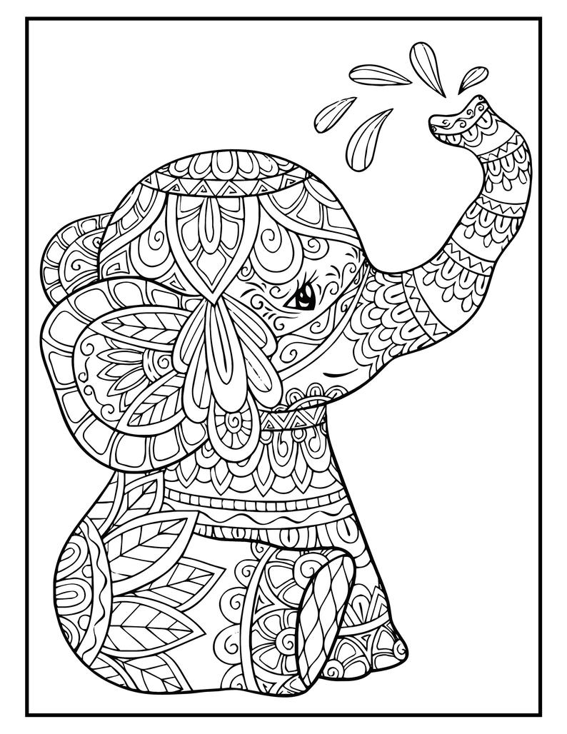 Elephant Mandala Coloring Pages 50 Page Elephant Coloring Book For Adults And Kids Printable Mandala Coloring Pages Mandala Coloring Books Elephant Coloring Page