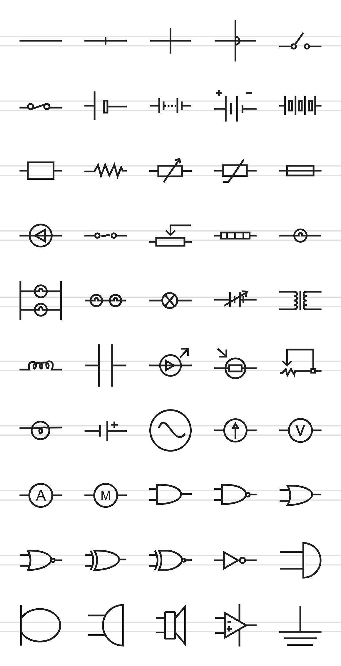50 electric circuits line icons closed cell joined switch [ 1160 x 2264 Pixel ]