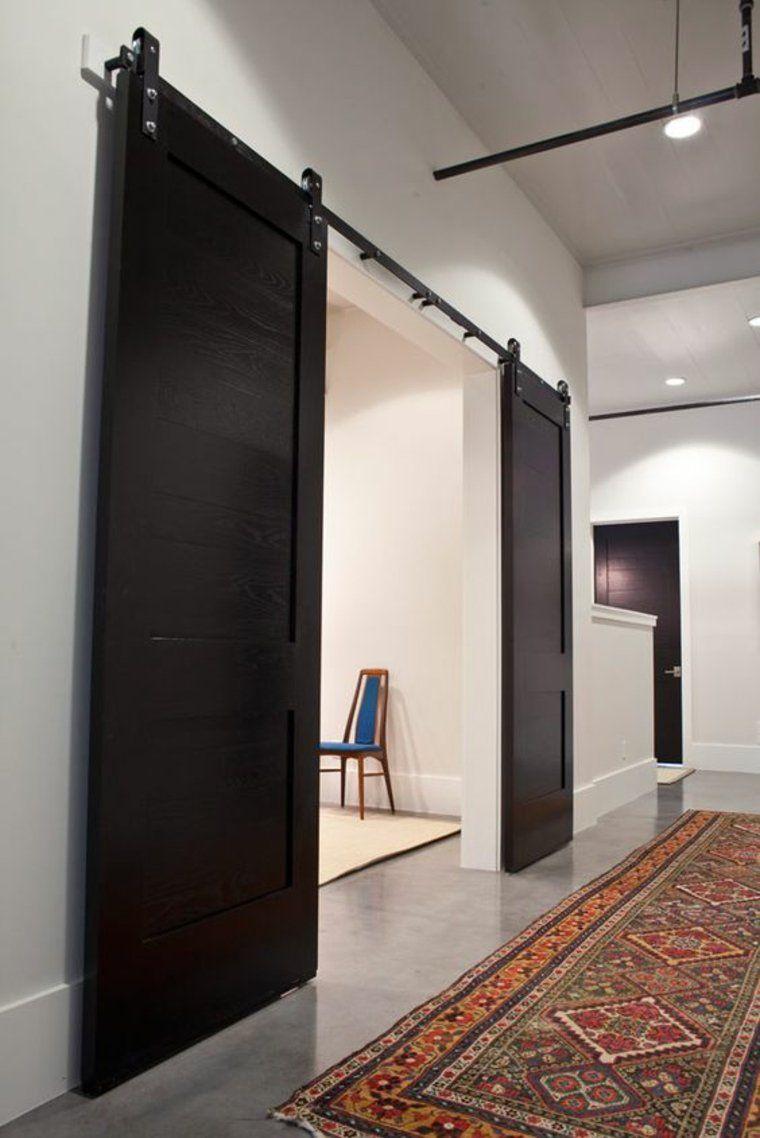 portes coulissantes en bois noir Plus