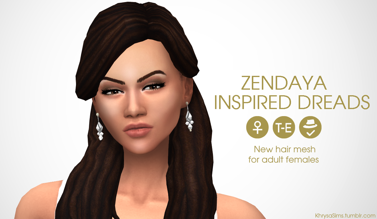 The sims 4 hairstyles cc - Zendaya Dread Hairstyles