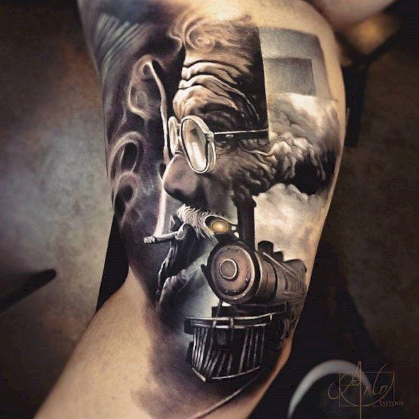 33 Unique 3d Tattoo Inspiration 3d Tattoo Train Tattoo 3d Tattoos