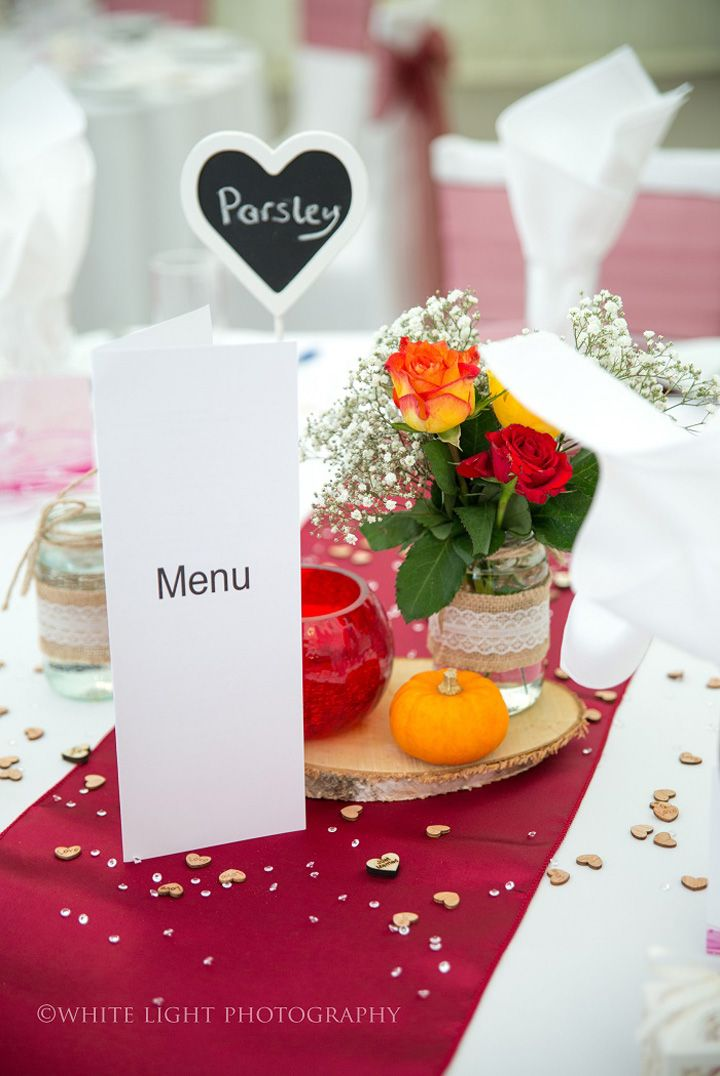 Halloween-Themed Wedding table centerpiece decorations with pumpkin