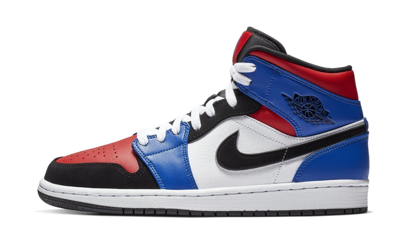f3cf5366ee0a55 Air Jordan 1 Mid  Blue Red White Black  554724-124 (Lateral ...