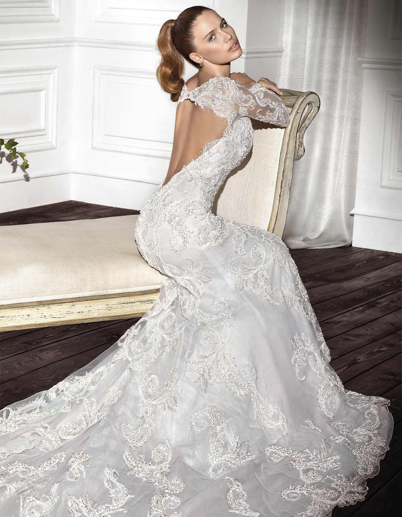 Beaded wedding dress with long sleeves | 297 by Demetrios Platinum ...