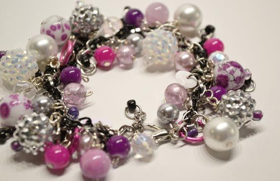 A sparklely charm bracelet with bright colors by Charmanique, $20.00