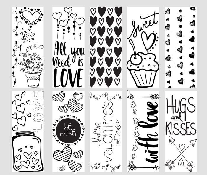 Fun FREE Valentine Printable Coloring Page Bookmarks are a great ...