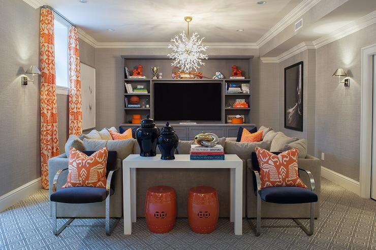 Navy And Orange Basement Family Rooms Contemporary Basement Living Room Orange Living Room Decor Gray Basement Family Rooms