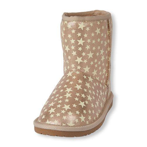 01b1f4419007 Girls Glow-In-The-Dark Star Print Chalet Boot