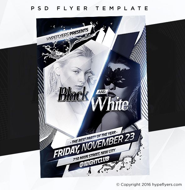 Black And White Party Flyer Event Template Party Flyer And Psd