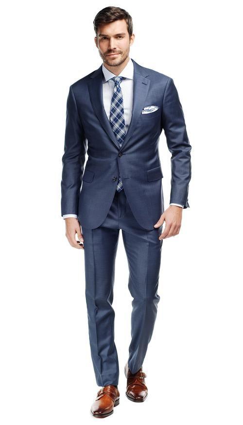 Storm Blue Sharkskin Suit  #menswear #mensfashion #graysuit #mensstyle #glennplaid #wedding #weddingsuit #groom #groomssuit #groomsmen #groomsman #weddingstyle #suitandtie #bluesuit #plaidsuit #strippedsuit #pinstripes