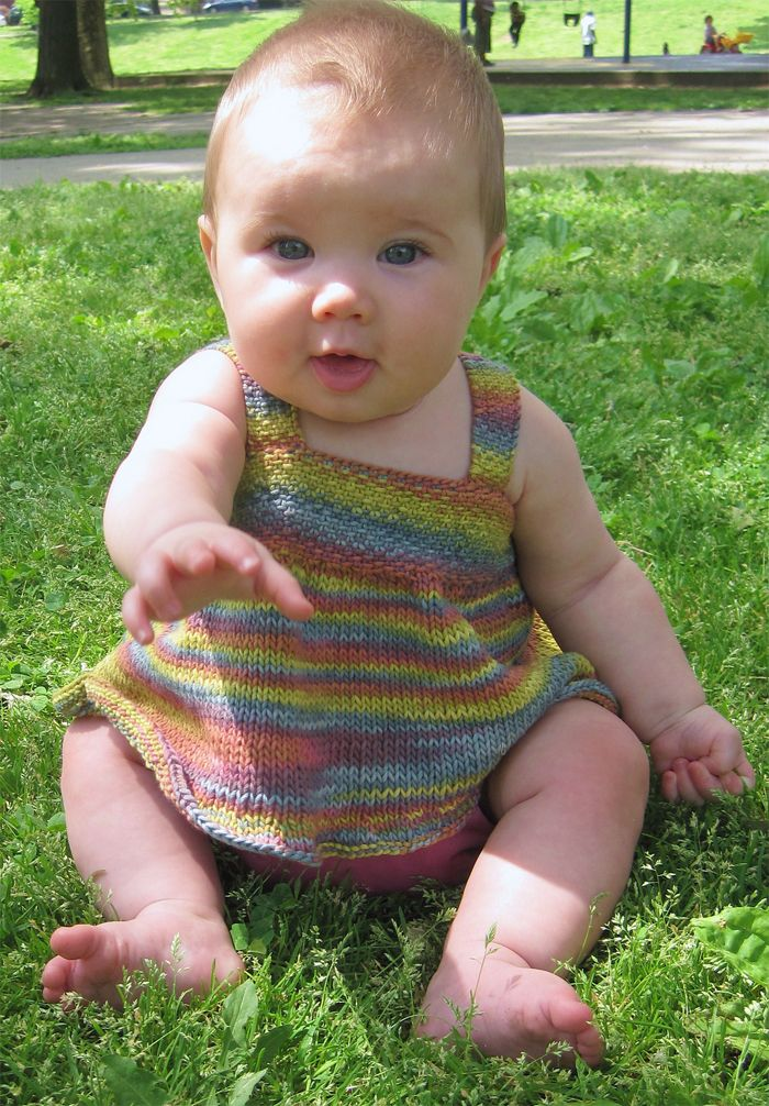 Free Knitting Pattern for Hara Baby Dress - Short, flouncy dress ...