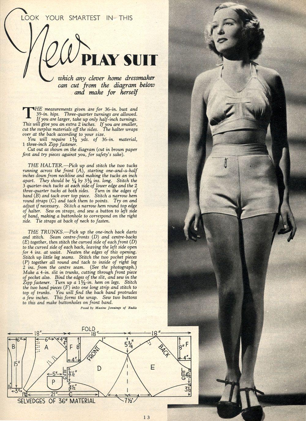 1937 playsuit | Kreatives und mehr | Pinterest | 30er, Sommer und ...