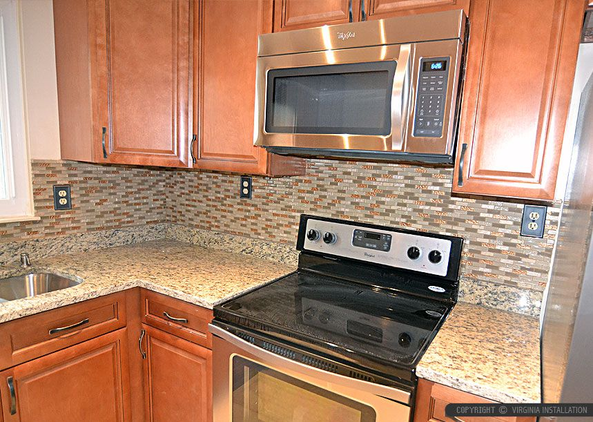 Attractive Santa Cecilia Backsplash Ideas Part - 2: Brown Glass And Travertine Stone Mixed Backsplash Tile With Santa Cecilia  Granite Kitchen Countertop And Brown